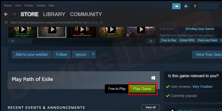 After getting the game, click on the Play Game button.