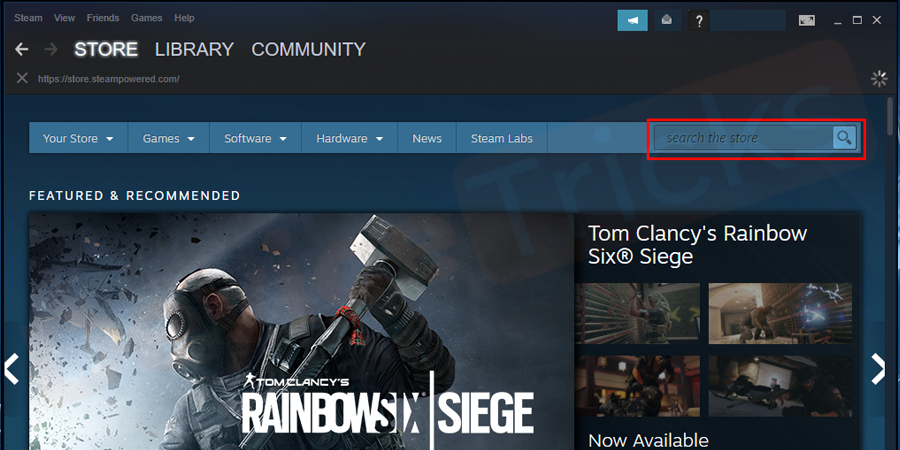 After completing the above task, move to the STORE section that is located at the top of the page and then search for the game which you have uninstalled.