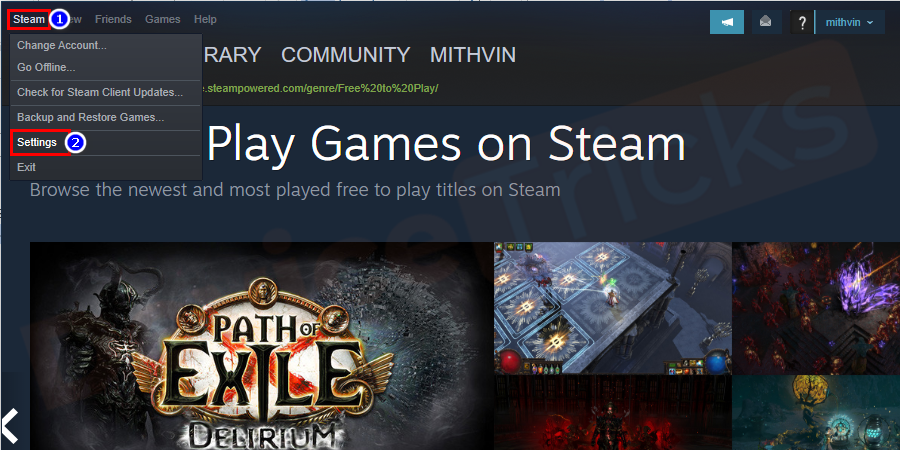 After completing the above process, click on the Steam tab located at the upper left corner of the page. and then click on the Settings from the drop-down menu.