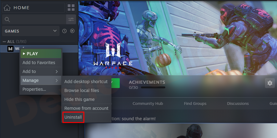 Now, select the game which is having a problem and then right-click on it to choose an option Uninstall.