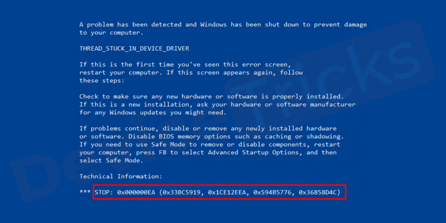 What does Blue Screen of Death 0x000000EA THREAD STUCK IN DEVICE DRIVER mean?