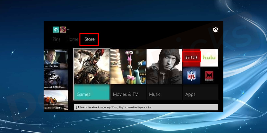 Now, press the Home button on the Controller and move to the Menu section. In the Menu of Xbox One Console, you will find Store, move to that section and then navigate for Netflix.