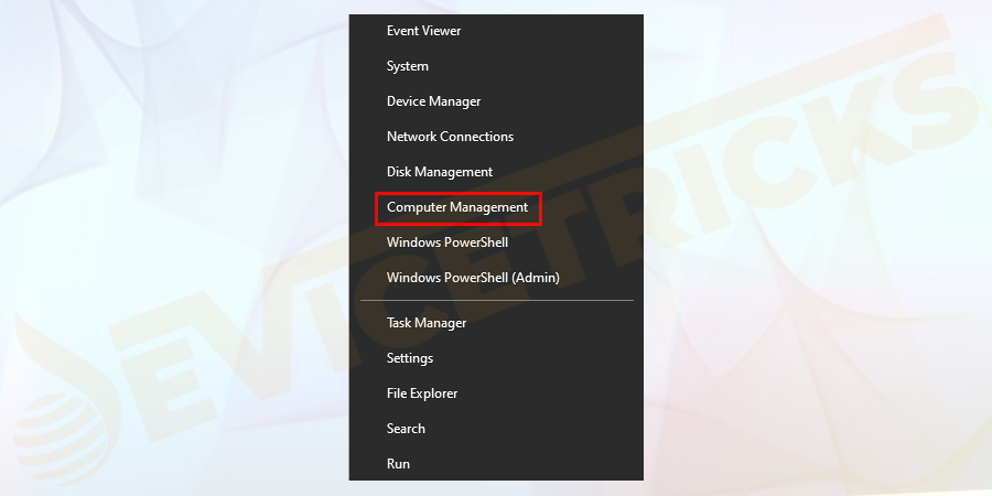 You have successfully logged into the system, right-click on the start menu on the left-hand side of the system. You will get a set of options and select computer management from the given options.