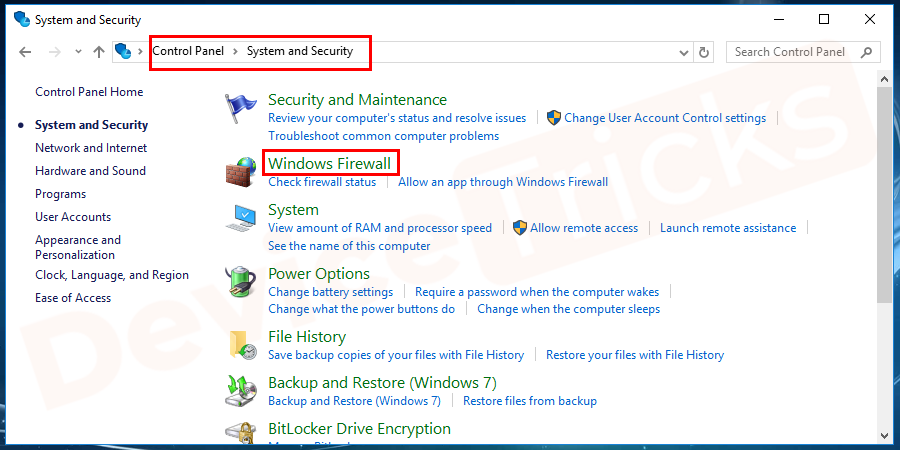 select Windows Firewall
