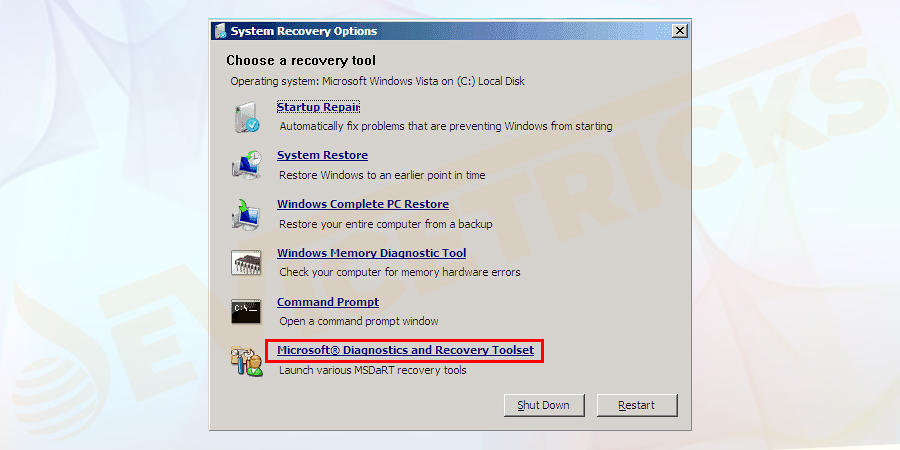 Once loaded with the selected operating system, you can see many tools. Select the option of Microsoft diagnostics and recovery toolset.