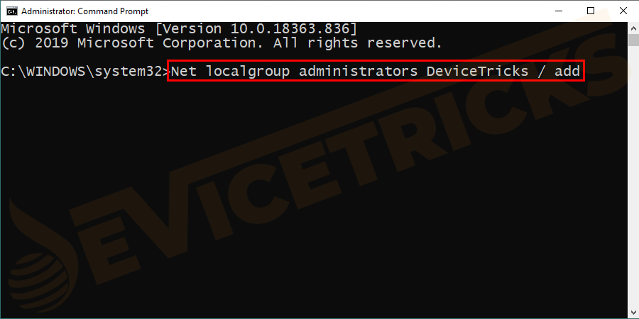 Net localgroup administrators <username> / add click enter