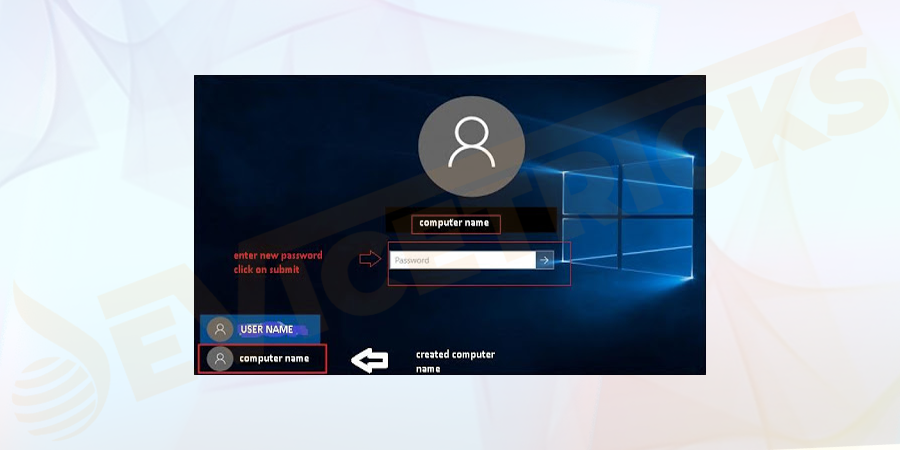 After successful completion of the above process, close the prompt Window and you will be able to see a new user on the login screen.