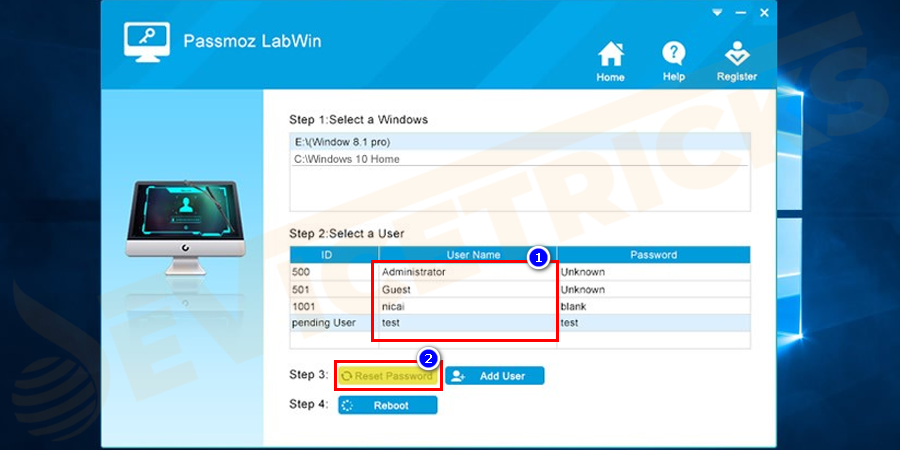 "Restart the computer and the PassMoz LabWin program will be loaded on-screen. Select a user account and click ""Reset Password"" to remove the password from a locked user account. Eject the disk and the computer should go to desktop automatically."