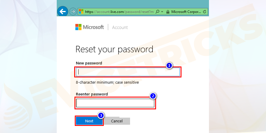If the verification goes successful then a new window will open. Here you can select a new account password for your Microsoft account and click on the Next button.