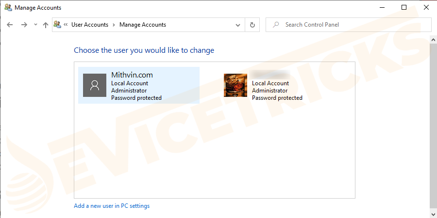 Specify the account for which you have lost the password.