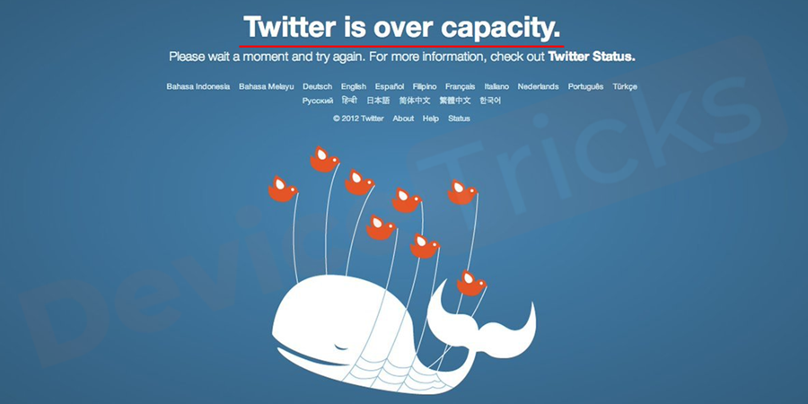 """Twitter's """"fail whale"""" error which says """"Twitter is over capacity"""" is a type of 502 Bad Gateway error (however, experts tell it to be a 503 Error)."""