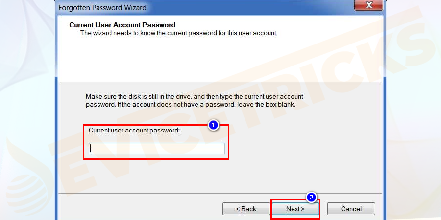 Here, type your local account password. The password is your current password to log into your account on your PC. Click on the Next button.