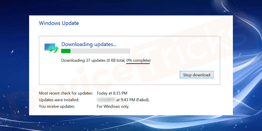 Overview of Windows Update Stuck at 0% Downloading