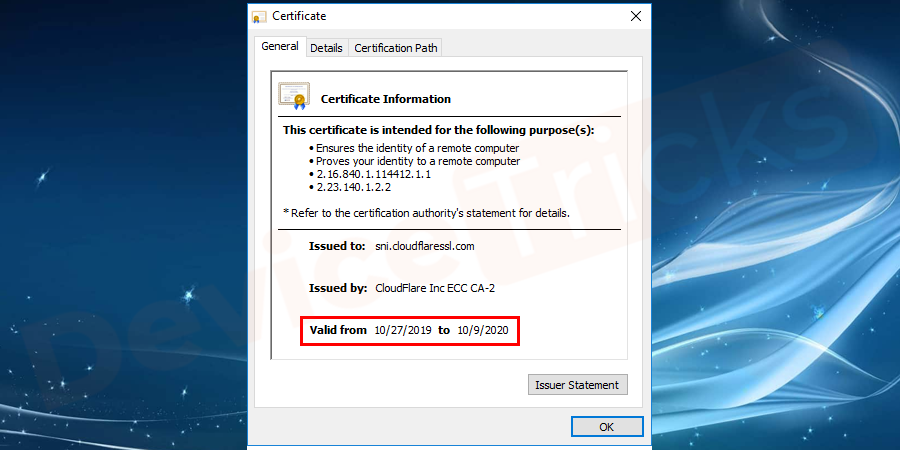 On the pop – up window, you can see valid from and to as shown in the image.