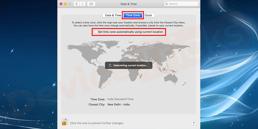 Go to the time zone tab. if it doesn't determine your location automatically simply uncheck it so manually set it. You can select the time zone region and city on the map
