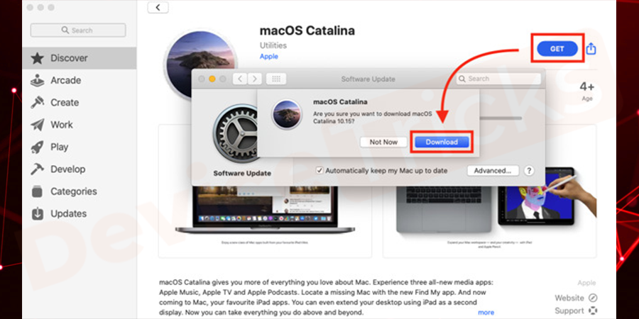 Soon, macOS Catalina page will open and here you need to click on the 'Get' icon. Thereafter, the installer will start downloading.