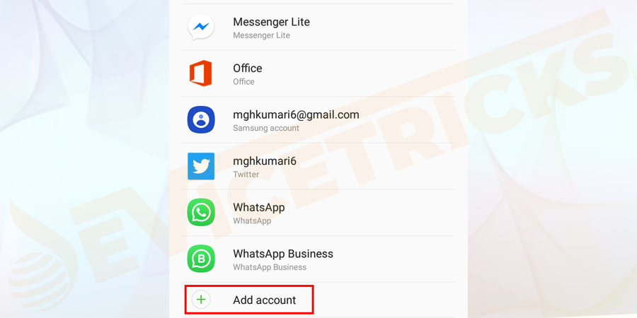 Add account option > click on it > and add a new or old account again