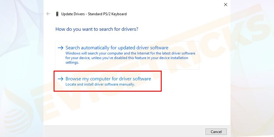 Then select 'Browse my computer for driver software'.