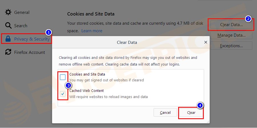 Then in the Privacy & Security section > the under Cookies and site data > click on the Clear Data button.
