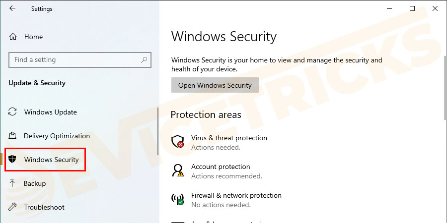 Then click on Windows Defender or Windows Security from the options.