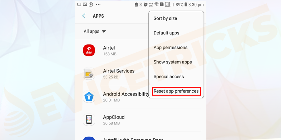 After that, click on the Reset app preferences option.