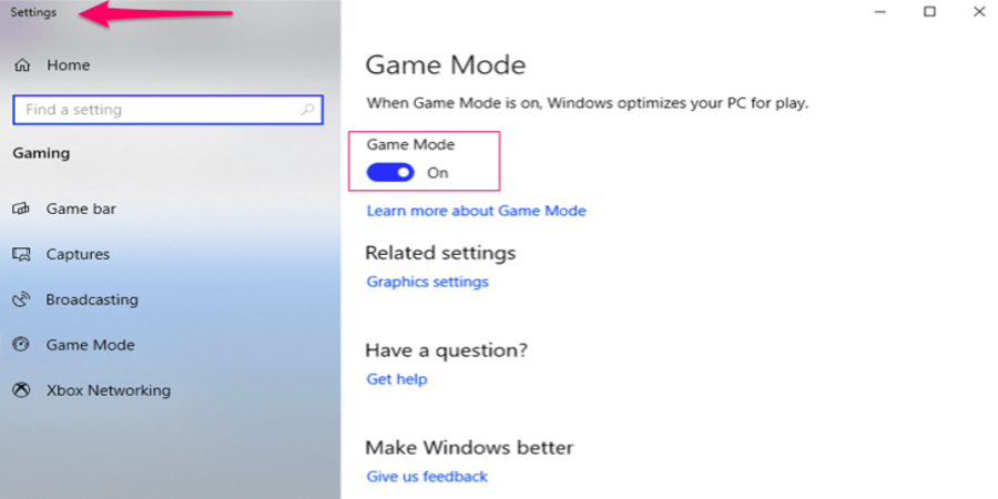 Disable Game Mode in Windows 10