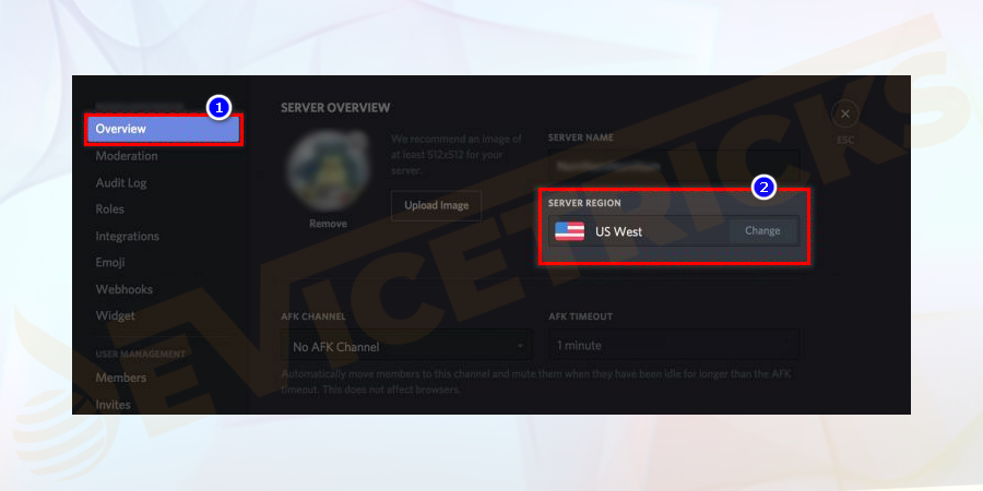 Under the Server Settings window, click on the Overview to see the server name and its region.