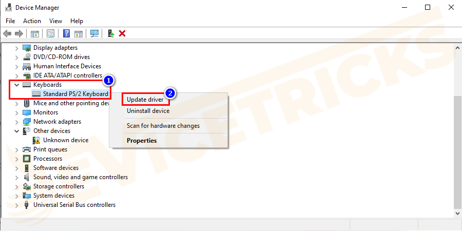 Now expand Keyboards directory and right-click on Standard PS/2 Keyboard > choose Update driver.