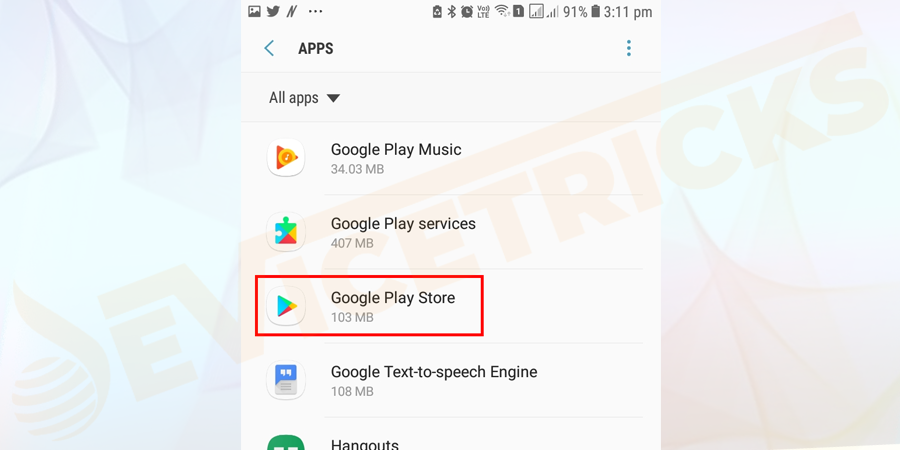 Head to the Settings > then click Apps > Google Play Store.