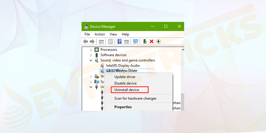 "And in the device manager locate the Lib32 Wireless Driver listed inside the ""Sound, video & Game Controller"" section and right-click on it > choose Uninstall Device."
