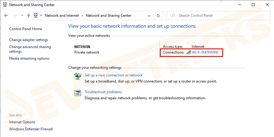 You will see a list of the active networks, locate the one that has Internet and click on the hyperlink.