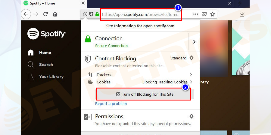 "Then click the icon to the left of the URL bar > click ""Turn off Blocking for this site""."