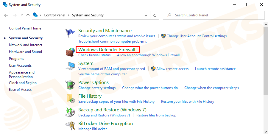 Then Windows Defender Firewall.