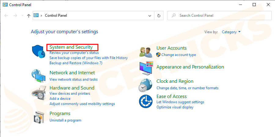 Now, click on System and Security.