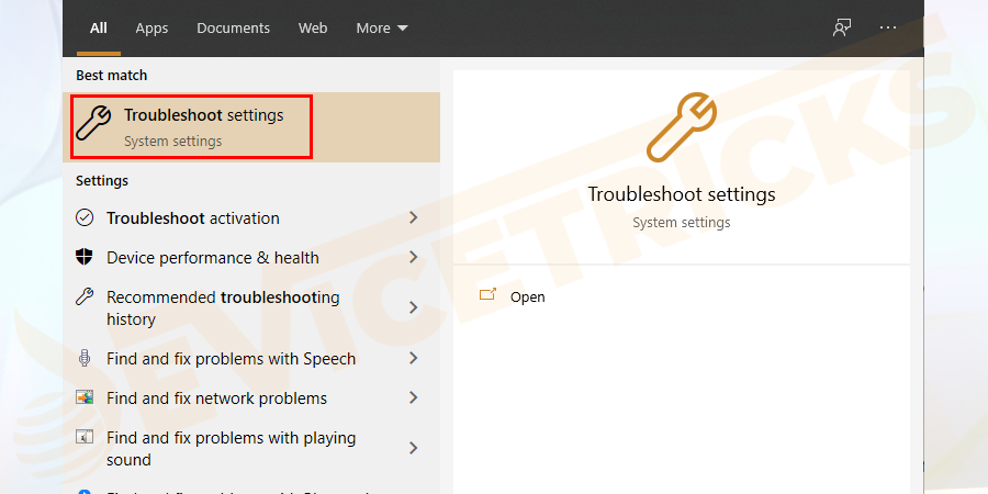 Press Windows key > and in search box type Troubleshoot > then in the list appeared to click on Troubleshoot Settings.