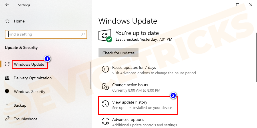 And from the list move to Windows Update > click on View installed update history.