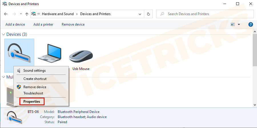 Next in the Devices section > right-click on Wireless Controller > now from the drop-down menu > choose Properties.