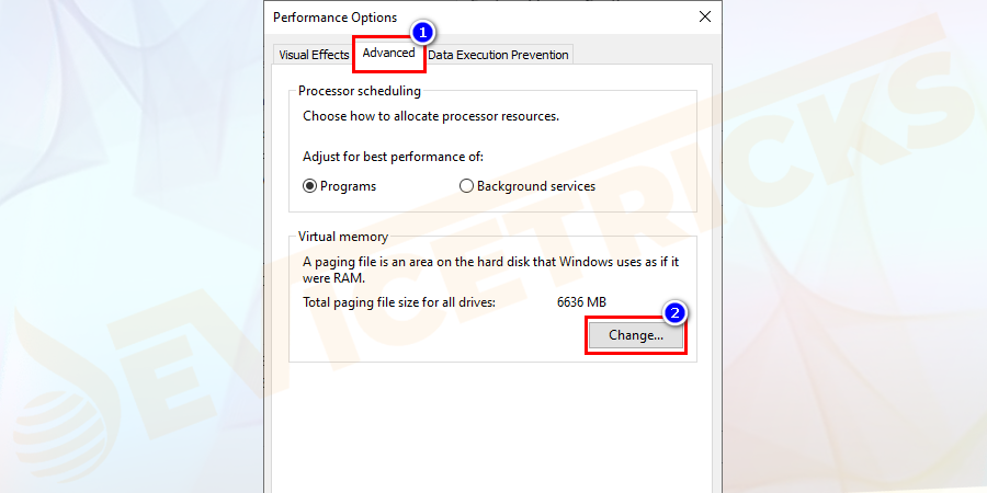 Then in the Performance Options window go to Advanced page > and click Change in the Virtual memory box.