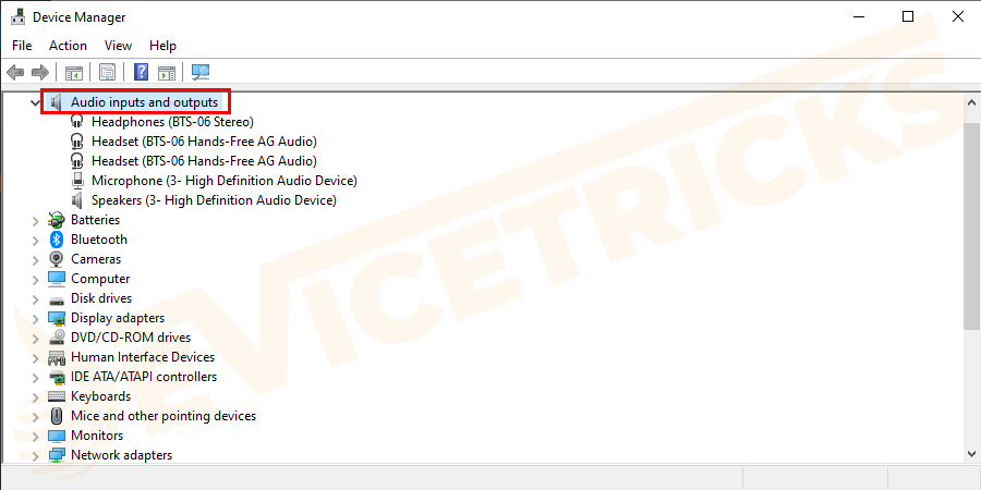 Then in the window appears > double-click the Audio inputs and outputs entry > and in the drop-down locate your mic device.