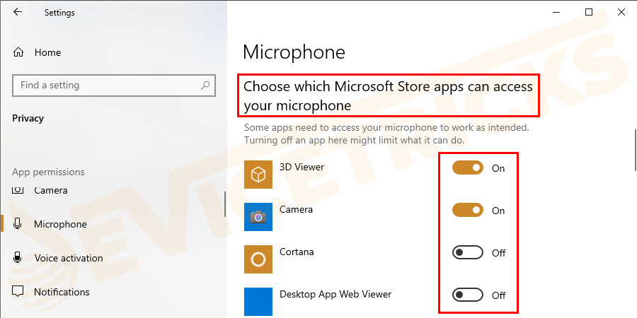 Now go down and move to Choose which apps can access your microphone > assure all the apps you require can access the mic.
