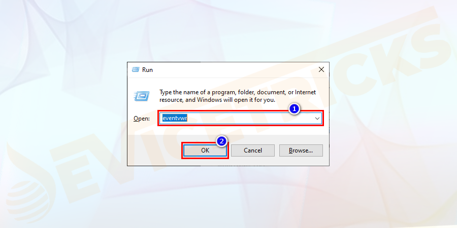 When the computer restart automatically > press Windows + R > in Run box > and in Run dialog box > type eventvwr.