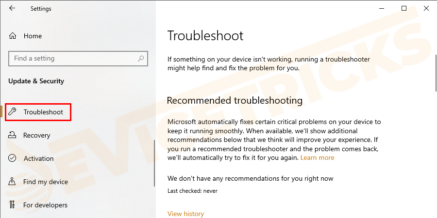 Then click on Troubleshoot.
