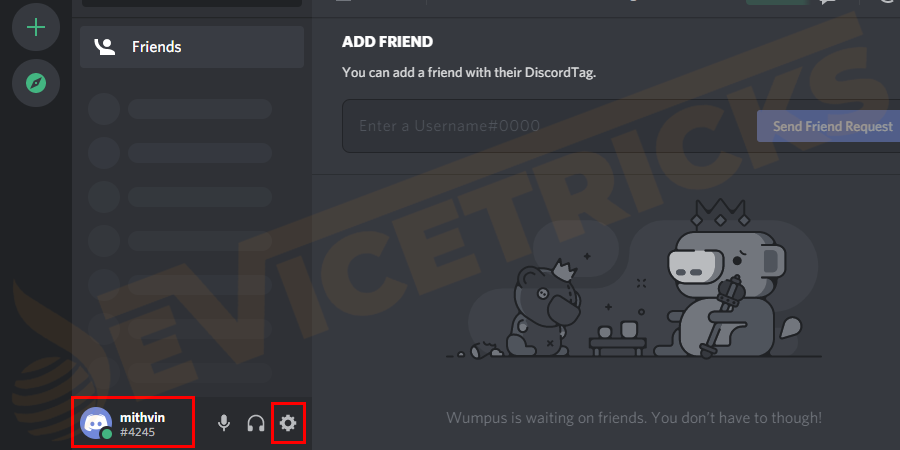 Open the Discord app > and in the bottom right corner > click the User Settings icon.
