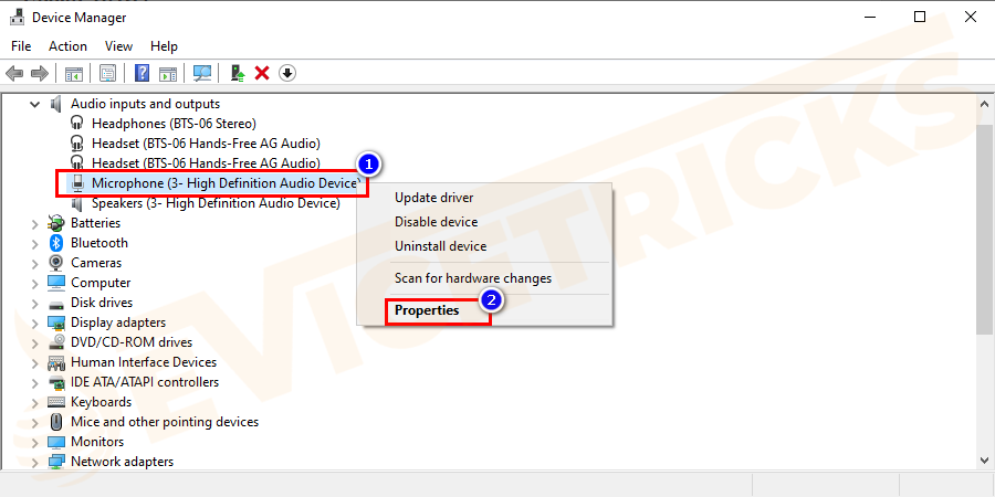 Then right-click Microphone (Realtek High Definition Audio)> select properties.