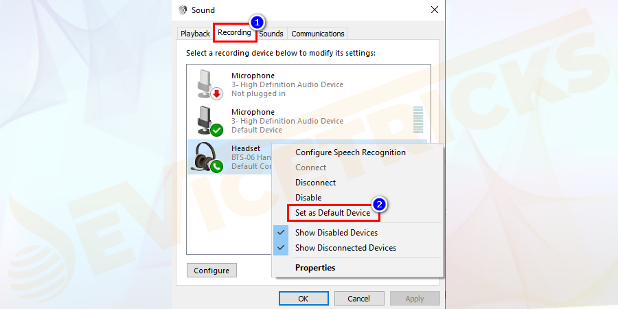 Now choose the Recording tab > then right-click on your inbuilt microphone > and select Set as the default device.