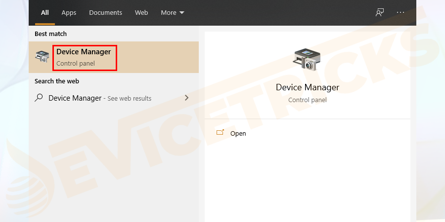First right-click on Start> in search box type Device Manager > open Device Manager.