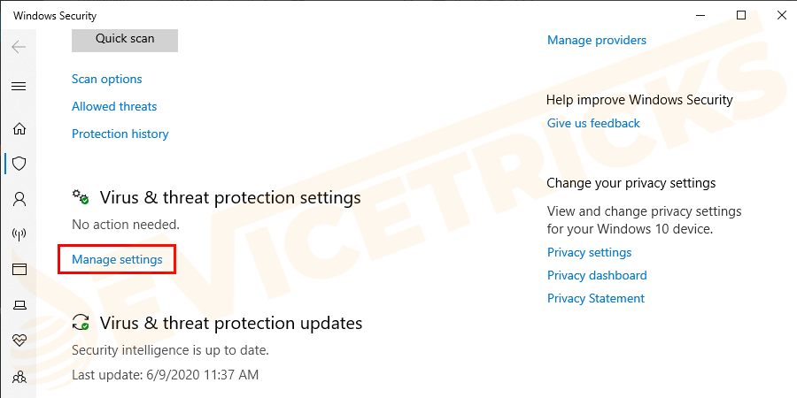 Under Virus & threat protection settings click on Manage settings.