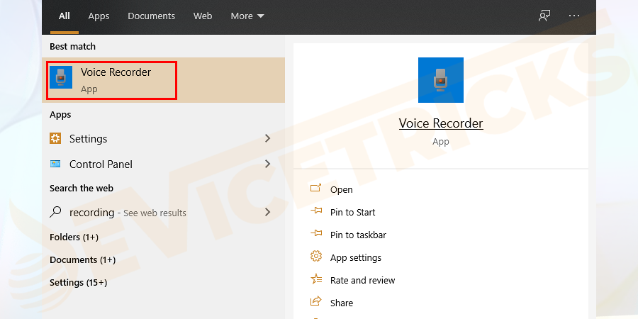 Press Windows + S and in the search bar type, Realtek Audio > and open the Realtek Audio Manager. You can also search for Voice Recorder to open the same.