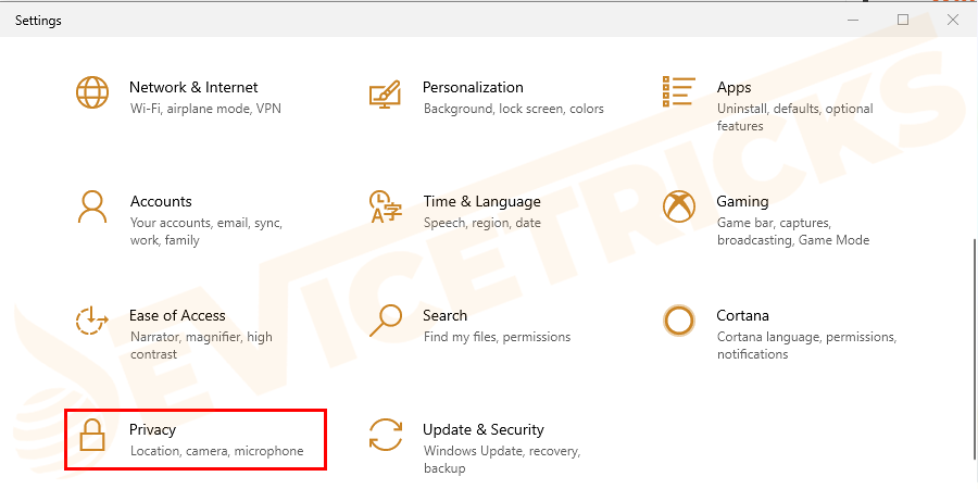 Open Windows Settings and click on Privacy.