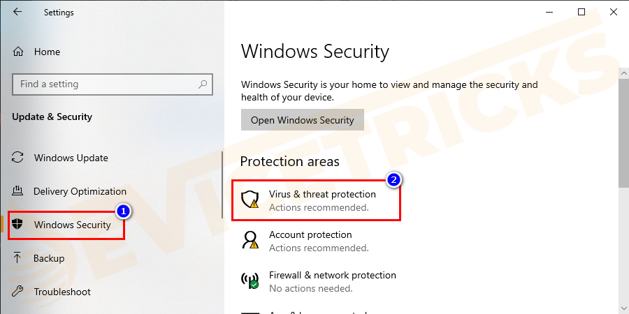And click on Windows Security and then click Virus & threat protection.